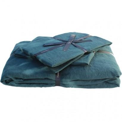 Housse de couette lin lavé stone wash Viti - Bleu de prusse - Harmony textile