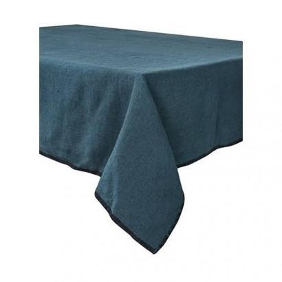 Nappe LETIA lin lavé - Bleu de prusse ( bleu vert)