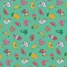 Tissu coton - Bouées vert turquoise - 160cm