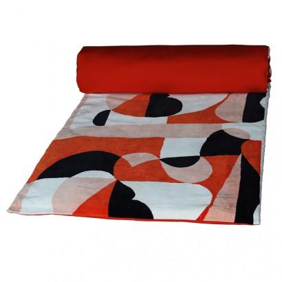 ARTY Housse d'édredon velours coton - Harmony textile 85 x 200 cm - PAPRIKA