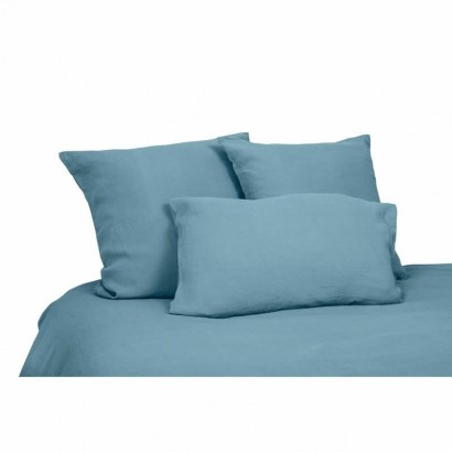 Housse de couette lin lavé stone wash Viti - Bleu