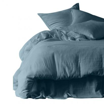 Drap plat DILI voile de coton - Harmony Textile - 270 x 300 cm - BLEU DE PRUSSE