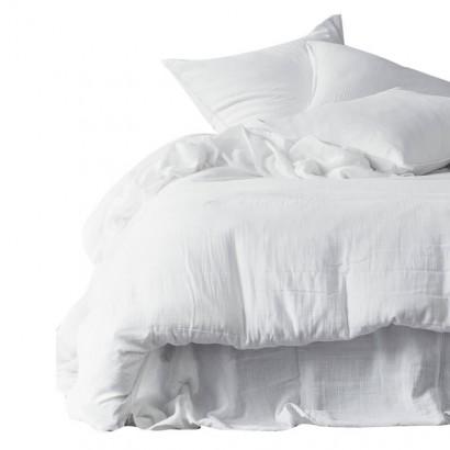 Housse de couette et taies d'oreiller DILI voile de coton - Harmony Textile - Blanc