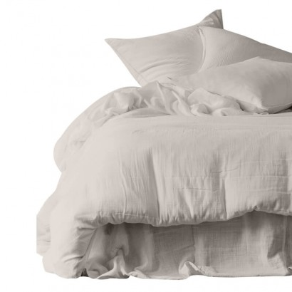 Housse de couette et taies d'oreiller DILI voile de coton - Harmony Textile - Lin