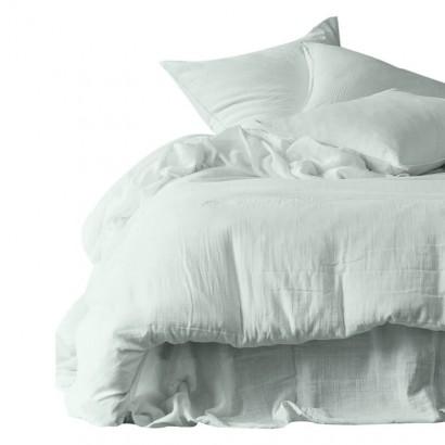 Housse de couette et taies d'oreiller DILI voile de coton - Harmony Textile - Céladon