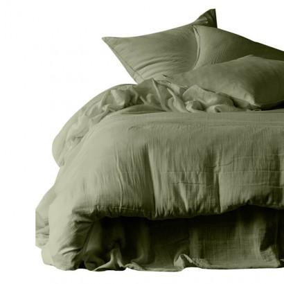 Housse de couette et taies d'oreiller DILI voile de coton - Harmony Textile - Kaki