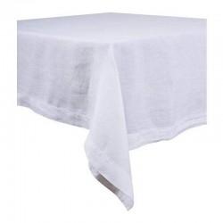 Nappe Naïs et serviette de table lin lavé  - BLANC