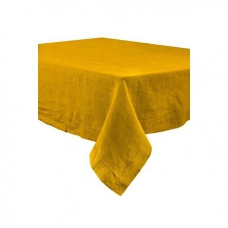 Nappe Naïs et serviette de table lin lavé  - SAFRAN