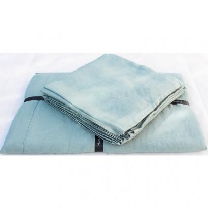 Nappe Naïs et serviette de table lin lavé  - CELADON