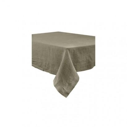 Nappe Naïs et serviette de table lin lavé  - KAKI