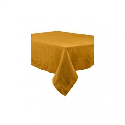 Nappe Naïs et serviette de table lin lavé  - BRONZE