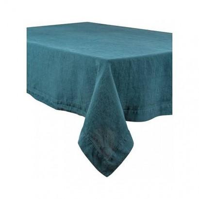 Nappe Naïs et serviette de table lin lavé  - BLEU DE PRUSSE