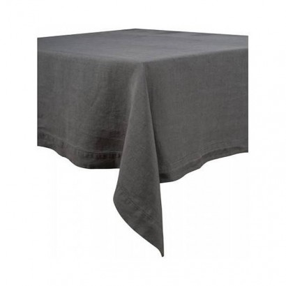 Nappe Naïs et serviette de table lin lavé  - GRANIT
