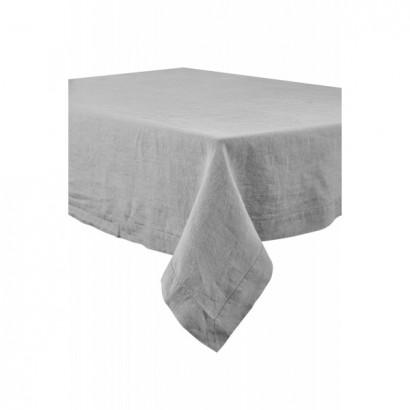 Nappe Naïs et serviette de table lin lavé  - BETON