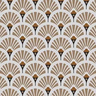 Coton enduit - Eventails Dorés - 160cm - BEIGE