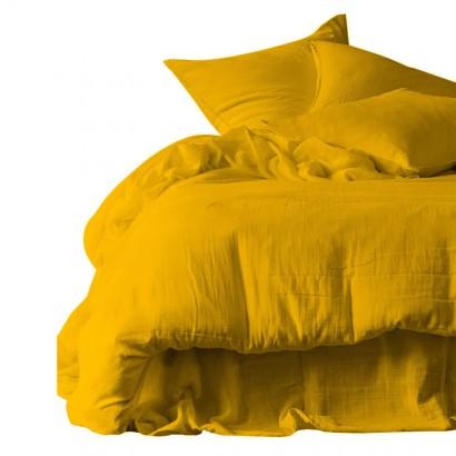 Housse de couette et taies d'oreiller DILI voile de coton - Harmony Textile - Safran