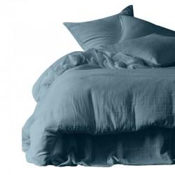 Housse de couette et taies d'oreiller DILI voile de coton - Harmony Textile - Bleu de prusse