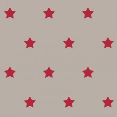 Tissu coton enduit antitache - 160cm - Stars - Etoiles - Mfta - BEIGE / ROUGE