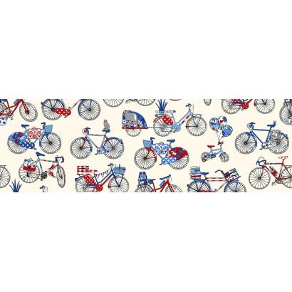 coton enduit les vélos fond crème 1.60m de large mfta