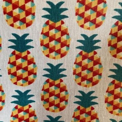 tissu coton enduit ananas noir 1.55m de large stof