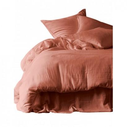 Housse de couette et taies d'oreiller DILI voile de coton - Harmony Textile - Brick