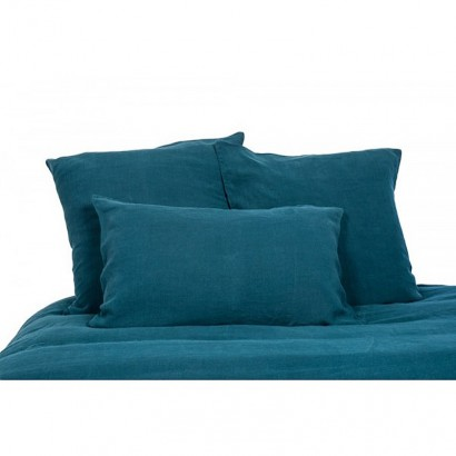 Taie d'oreiller lin lavé stone wash Viti - Bleu de prusse - Harmony textile