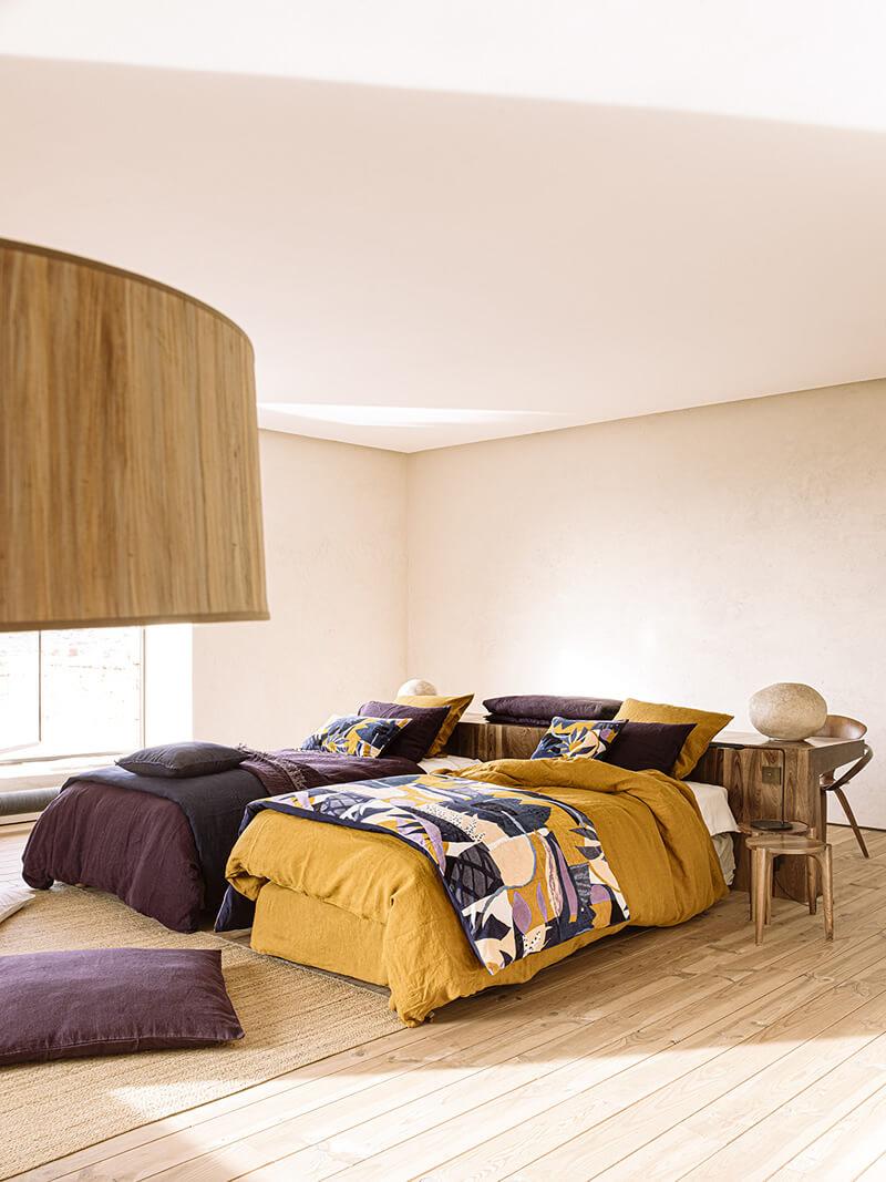 Housse de couette viti camel lin Harmony Textile